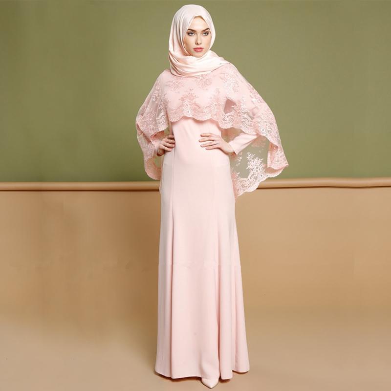 Más del tamaño Vestido 2019 EAU abaya musulmán partido de las mujeres Kaftan de dos piezas de vestido de encaje mantón Hijab Dubai Ropa islámica turca