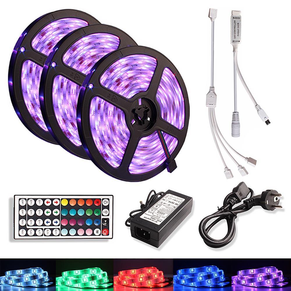 5 M 10M 15M bande LED RVB étanche SMD 5050 12V DC Ruban flexible Tira diode LED bande + télécommande IR Contoller + Plug Adapter