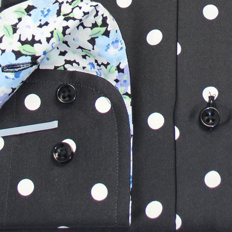 custom tailor made Men's bespoke shirts business formal wedding ware bespoke blouse silk black polka dot floral dress blouse