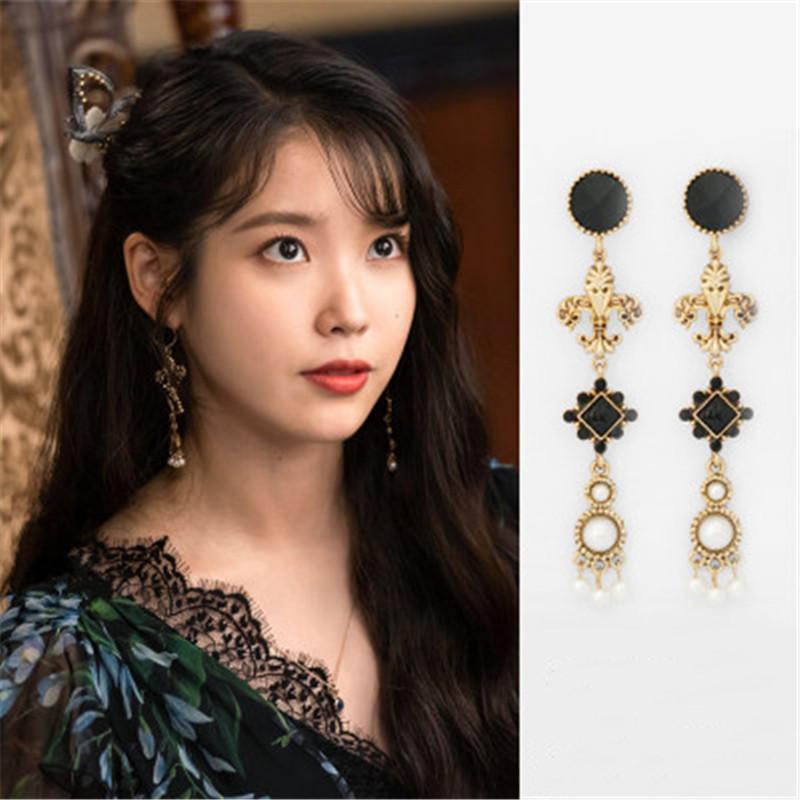 Dramas de época DEL Luna Hotel UI coreana TV oído de la manera de la personalidad de gota elegantes para las mujeres Pendientes Pendientes Brincos ornamento