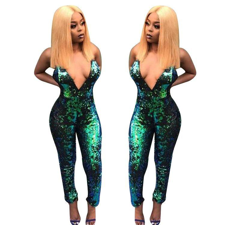Fashion Punk Club Rompers Women Jumpsuit Strap Slim Sequin Jumpsuit Long Rompers Playsuit Green S-XL Sexy Clothing