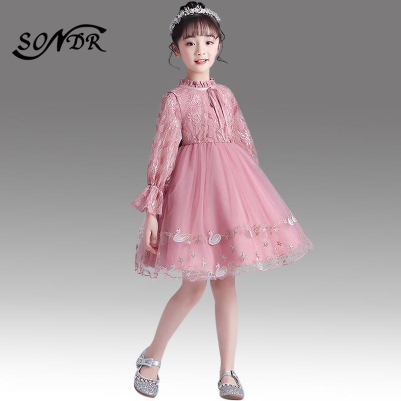 Yüksek Yaka Çocuk Parti Elbise HT183 Pembe Desen Çiçek Kız Elbise Dantel Üst komünyon Elbise Diz Boyu Prenses Abiye