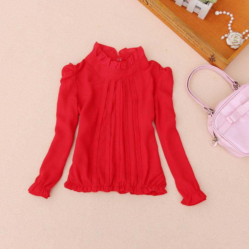 Girls Kids Shirt Cotton Ruffle Top School Long Sleeve Shirts Age 2-16 years