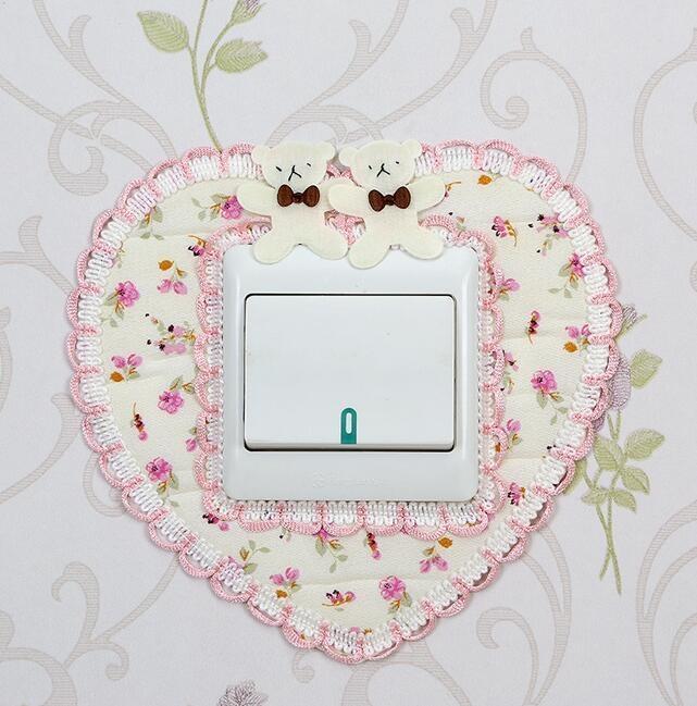 Preciosa etiqueta engomada del interruptor Decoración de tela pegatinas de decoración de la pared del corazón-shped oso lindo etiqueta engomada del interruptor libre del envío