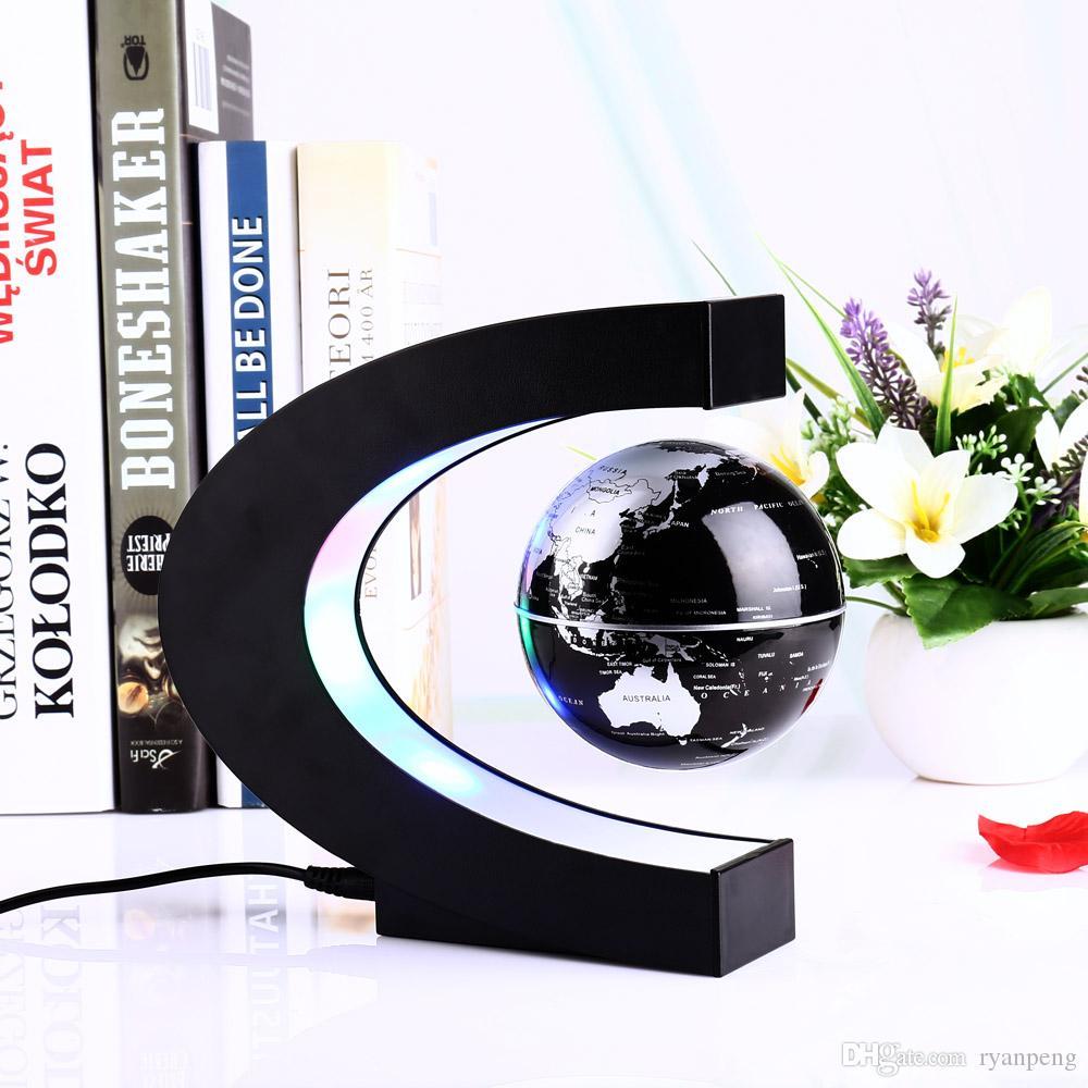 Novità Creativa lampada a levitazione magnetica a forma di C con mappamondo Mappamondo Globo colorato LED Abajur Decorazione Lampada da scrivania a LED