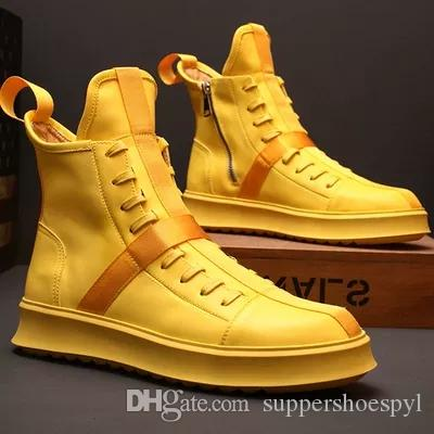 2019 new Genuine Leather Young Men High Shoes Fashion Lace up Shoes Short Boot for Men Top Best Quality Designer Leather shoes