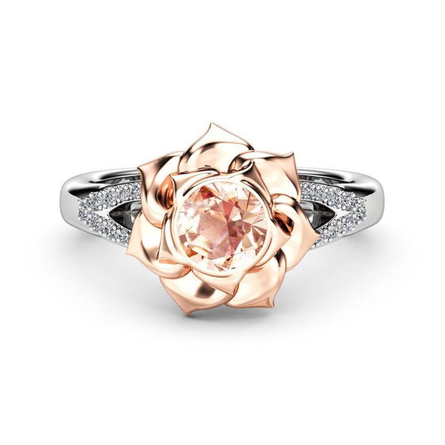 Joyería deslumbrante mosaico Manera- circón flor de Rose Anillos de boda de la novia de acero inoxidable para las mujeres Anillos R-961