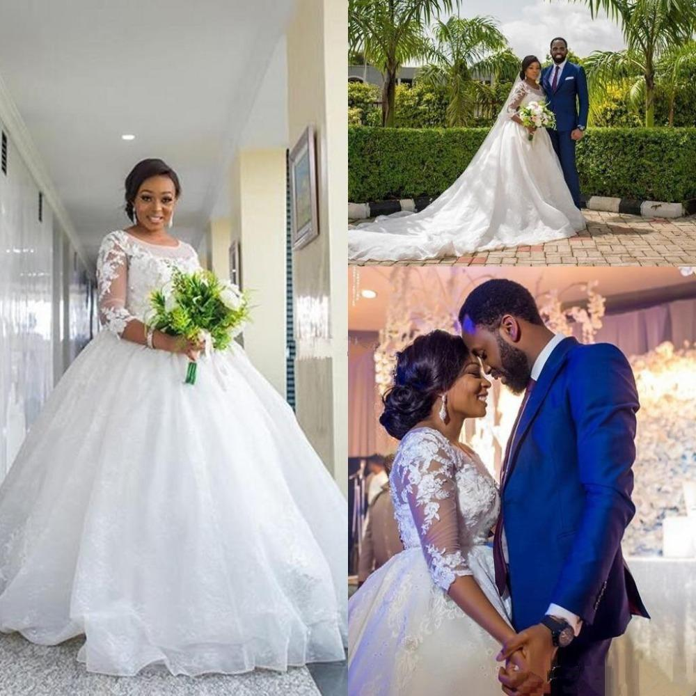 African Girls Ball Gown Wedding Dresses Plus Size 3/4 Long Sleeve 2020 Appliqued Lace Bridal Gown Puffy Sheer Neck Vestidos De Novia AL6269