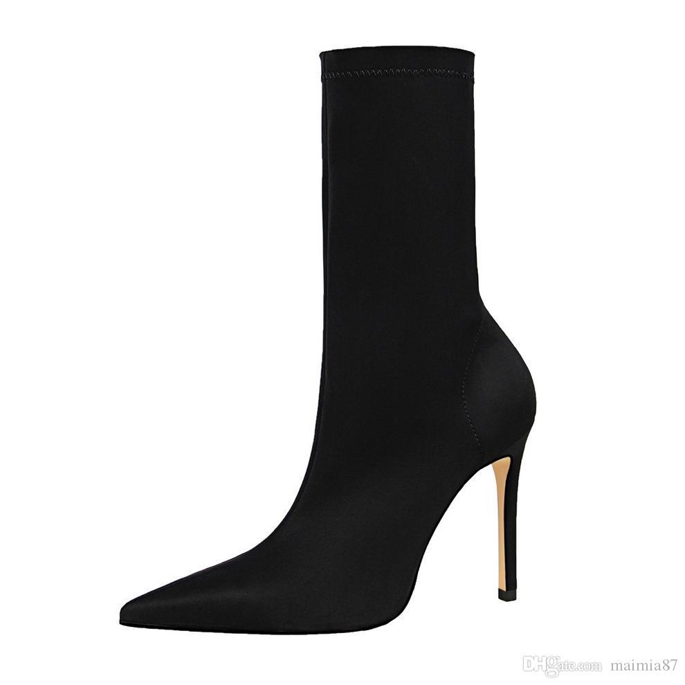 10 colores de moda Simple Lady Sexy Lycra stretch Boots mujeres elegantes del dedo del pie puntiagudo Super Stiletto Heel Boots 2019 fábrica al por mayor