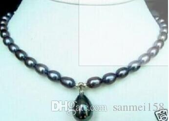 """7-9 мм черный Akoya жемчужное ожерелье Shell Pearl Pendant 18 """"Прекрасные женские свадебные украшения довольно!"""