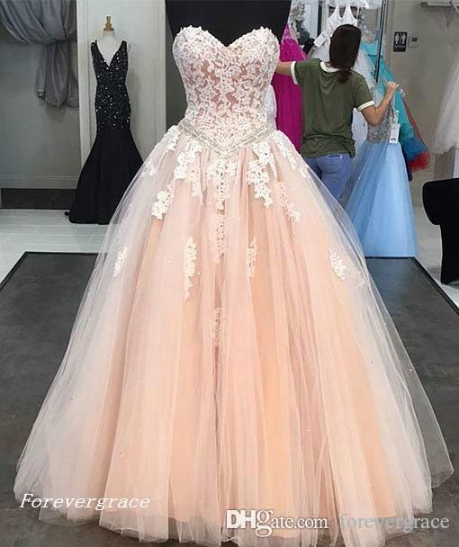 2019 New Peach Prom Dress Sexy Tulle con Pizzo Appliqued Formale Vacanze Indossare Laurea Festa Serata Pageant Gown Custom Made Plus Size