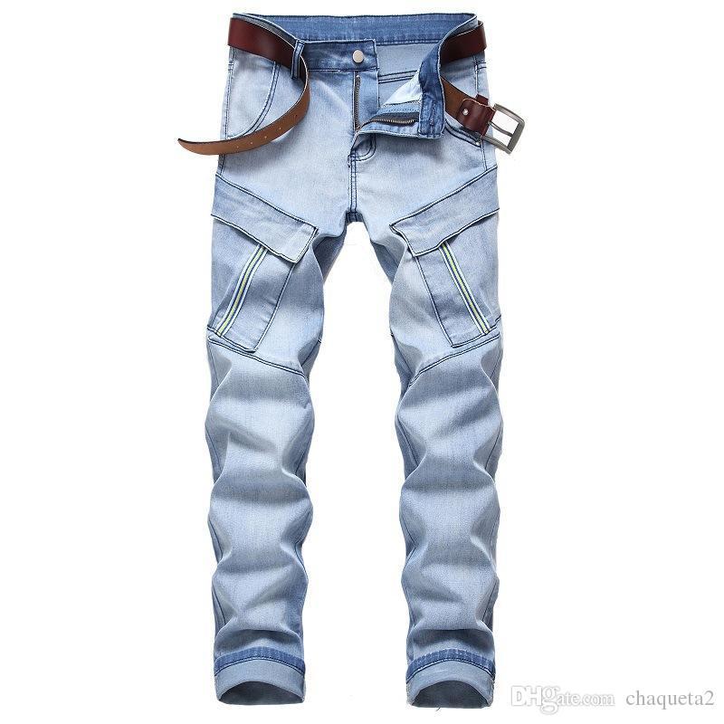 Mens Outono-Inverno Designer Jeans Moda multi Pockets Calças Zipper elásticas Jeans magro dos homens longos