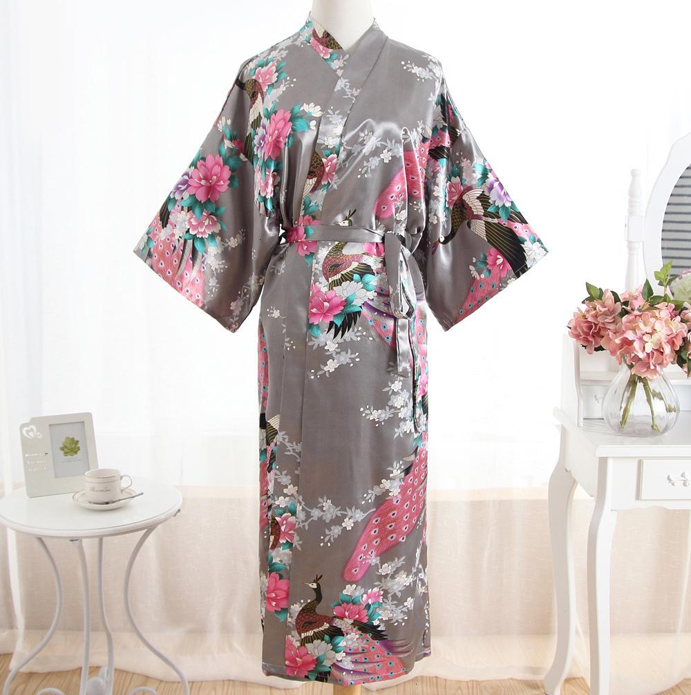 Pigiami per le donne Femme biancheria sexy Lady Grey estate Robe lungo accappatoio Womens raso della camicia da notte della stampa del fiore Kimono Sleepwear Unica