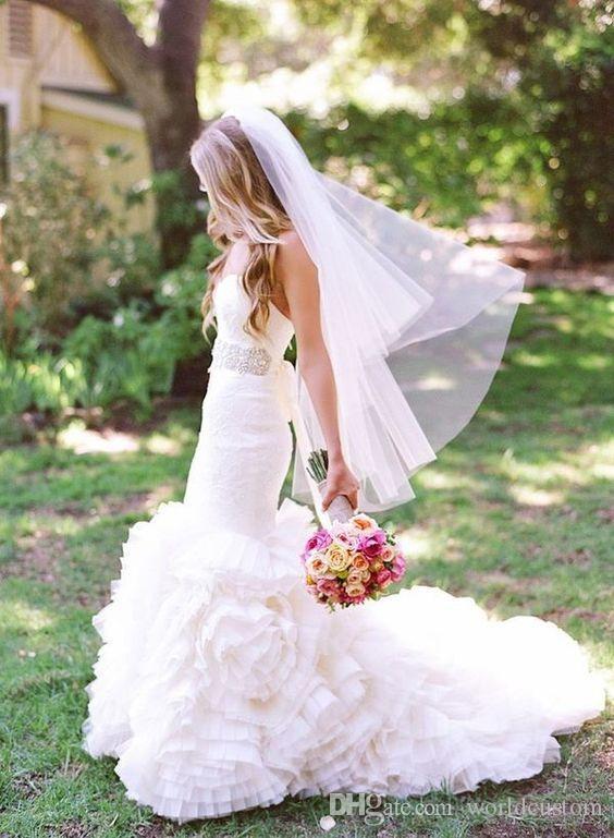 nova moda de alta qualidade elegante Camada Bridal Veils Two Cut borda dedo Comprimento personalizado Branco Marfim Meidingqianna liga marca Comb