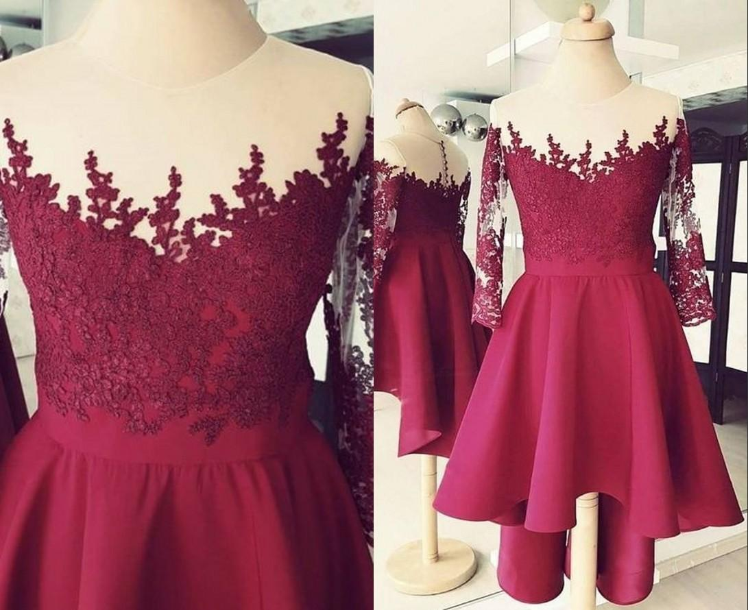 Ub Graduation 2020.2020 Burgundy Short Sheer Neck Cheap Prom Homecoming Dresses Illusion Sleeves Applique Hollow Back Graduation Cocktail Party Dress Prom Dress Websites