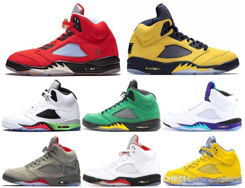 2019 Laney Real 5s Mens tênis de basquete Trophy Room Suede Red Oreo Oregon Ducks ouro metálico Fresh Prince Asas Sports Sneakers