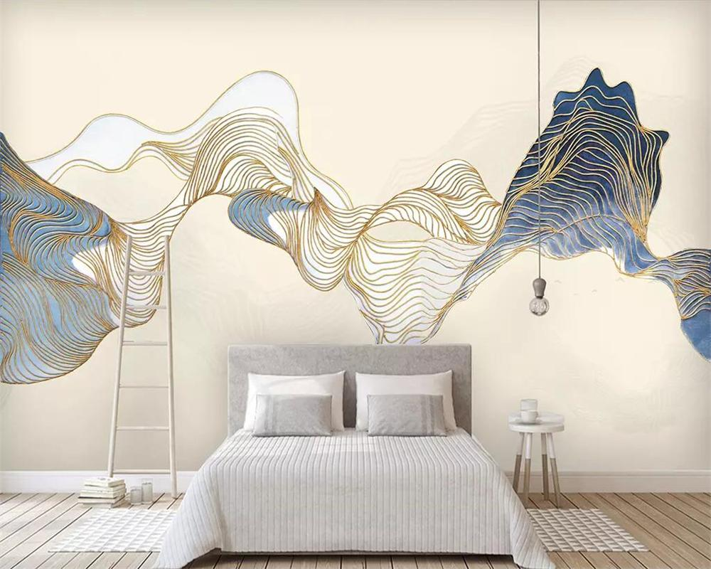 Beibehang Wallpaper mural chinese abstract line ink landscape TV background wall living room bedroom background 3d wallpaper