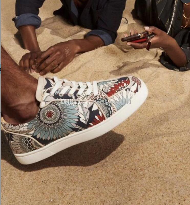 2019 Designer-rote untere Schuhe Sneakers Orlato Sunflower Stoff echtes Leder und Denim, Mode für Männer High / Low Cut Sneaker