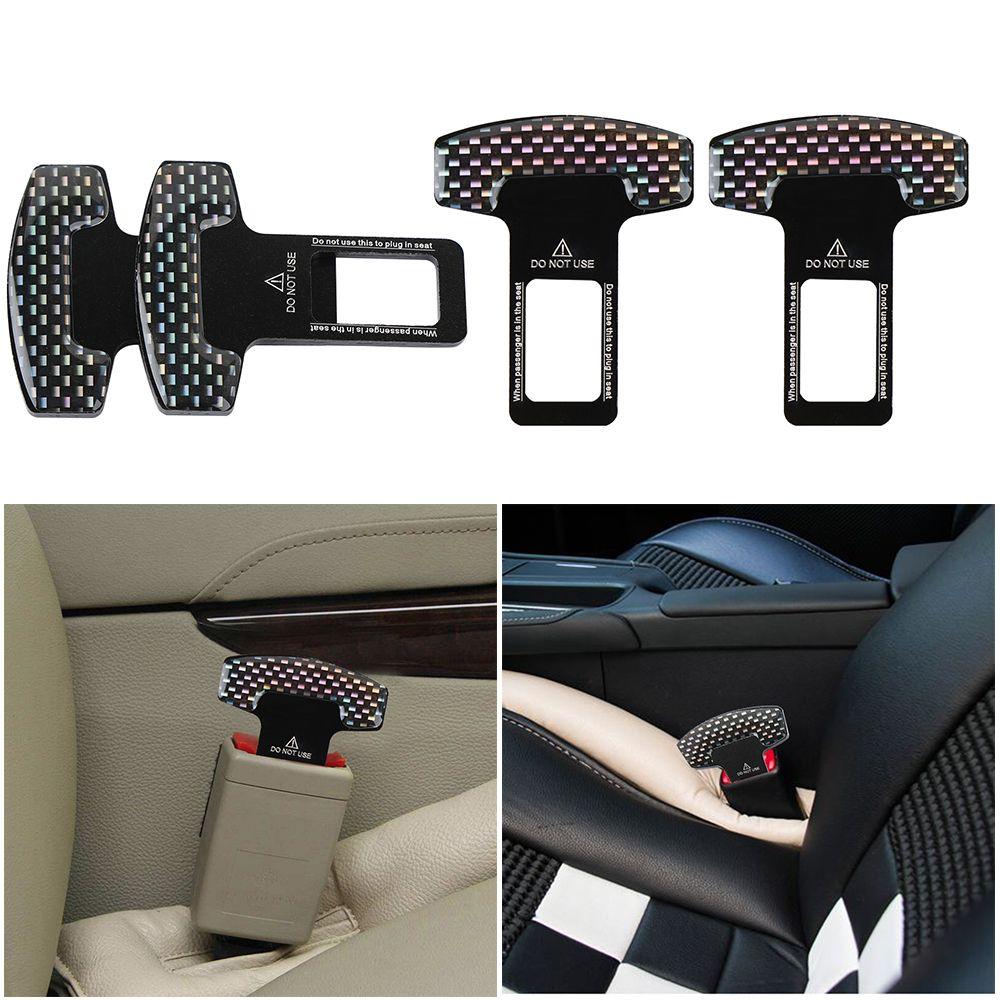 2PC universelle en fibre de carbone voiture de sécurité ceinture de sécurité Boucle Stopper d'alarme clip de serrage Alarme de voiture Stopper Accessoires pour véhicules