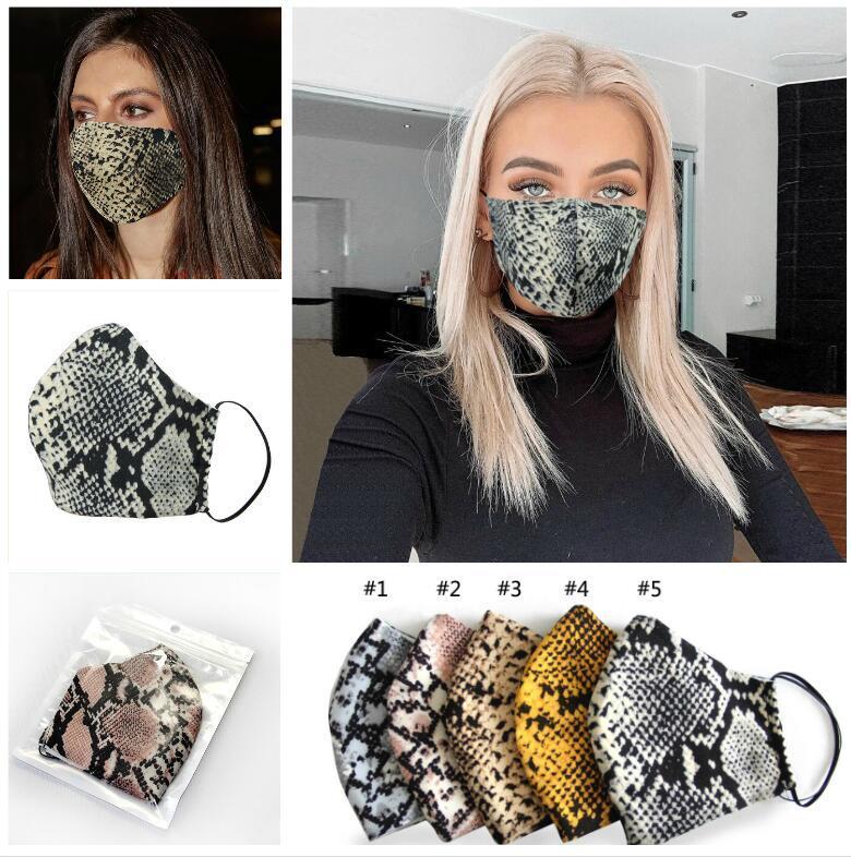 La moda del estampado leopardo de las mascarillas lavables diseñador de la máscara a prueba de polvo del respirador Ciclismo hombres y mujeres deportes al aire libre Imprimir Máscaras la boca de algodón