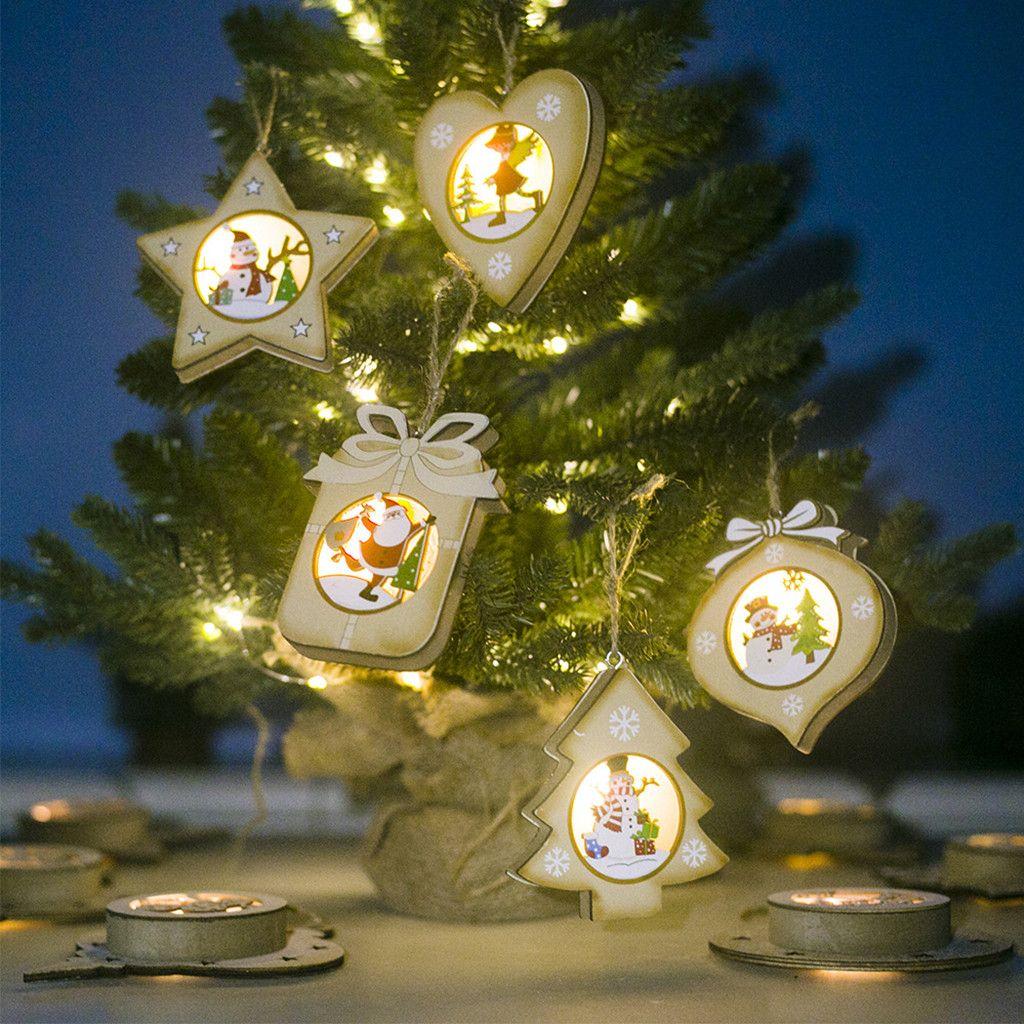 Natal Casa Decorações Kerst Decoratie Madeira Natal pintado do boneco de neve luz do cartão de Árvore de Luz pequeno pingente # 37