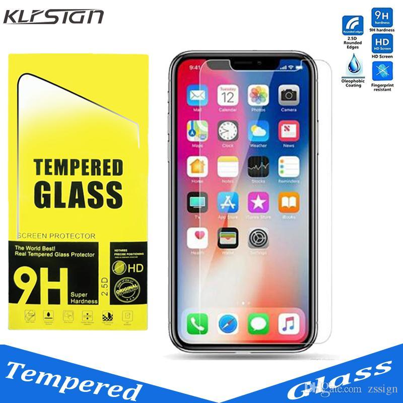 KLFSIGN 0.33mm 2.5D 9H Закаленное стекло-экран протектор для iphone 6 6S 7/8 Plus X XR Max с бумажным пакетом