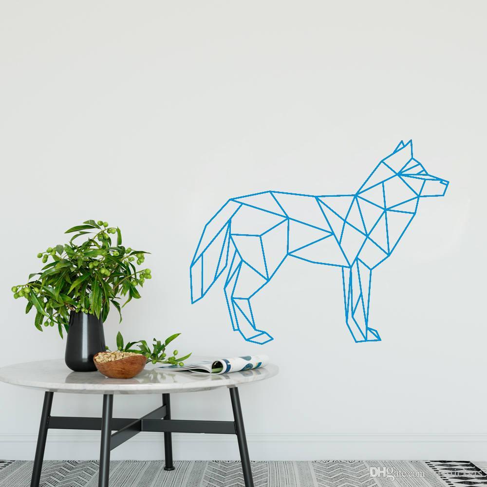 Decalques de Parede do lobo Geométrica Animal Art Wall Sticker 3D Decoração Da Casa Removível Criativo Adesivos de Vinil Muraux Decorativo Quente