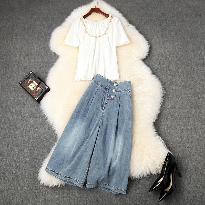 2020 Yaz Kısa Kollu Yuvarlak Yaka Beyaz Saf Renk Zinciri Tişört + Düğmeler Orta Buzağı Kot Pantolon İki Adet 2 adet Seti LJ03T10876