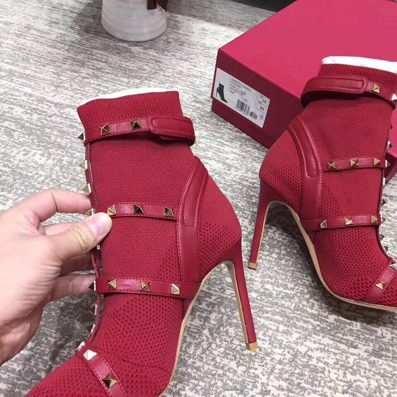 Hot Sale-gravure Chaussures tissu botte en cuir cheville Martin bottillons pour femme Hauts talons 105 mm Taille: 34-41