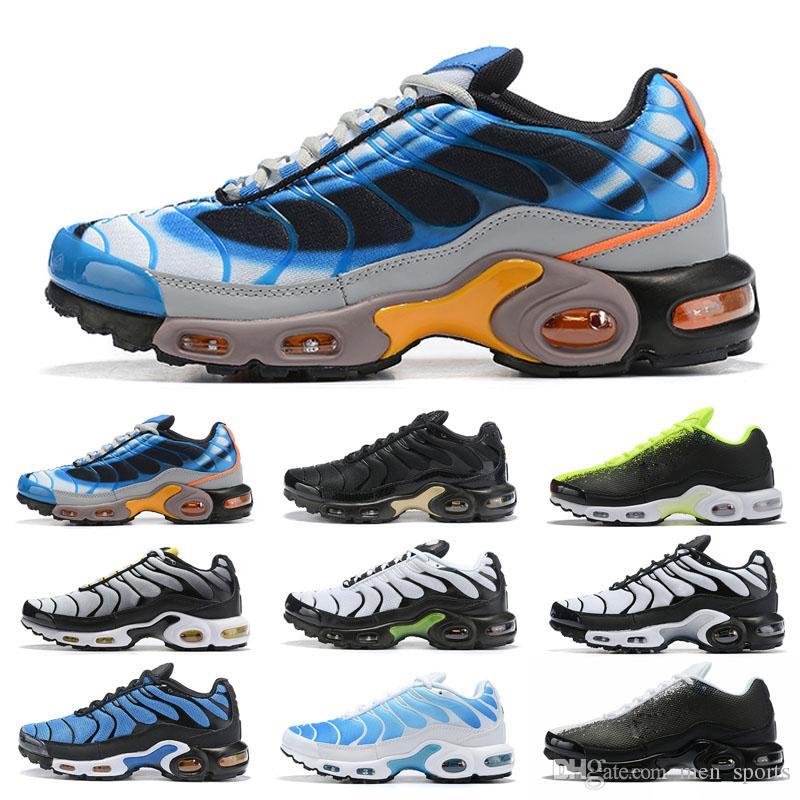 NIKE Air Max TN PLus İndirim Yüksek Kalite 2019 Yeni Artı Koşu Ayakkabıları Siyah Beyaz Yeşil turuncu Sarı Volt Boyutu Eur36-45 Erkek Kadın Atletik Spor Sneakers