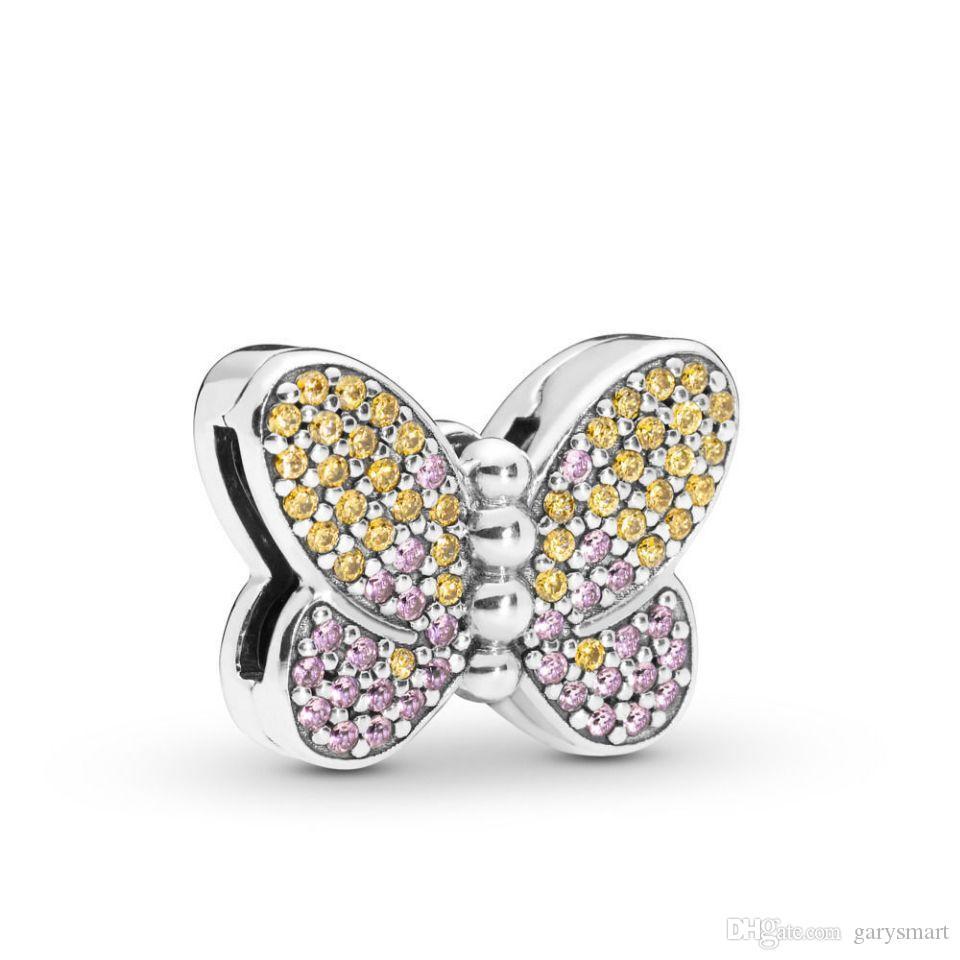 أصيلة 925 فضة الخرز الوردي اللباس DIY سحر يناسب الأوروبي باندورا نمط مجوهرات أساور السحر صنع المجوهرات CZ2020