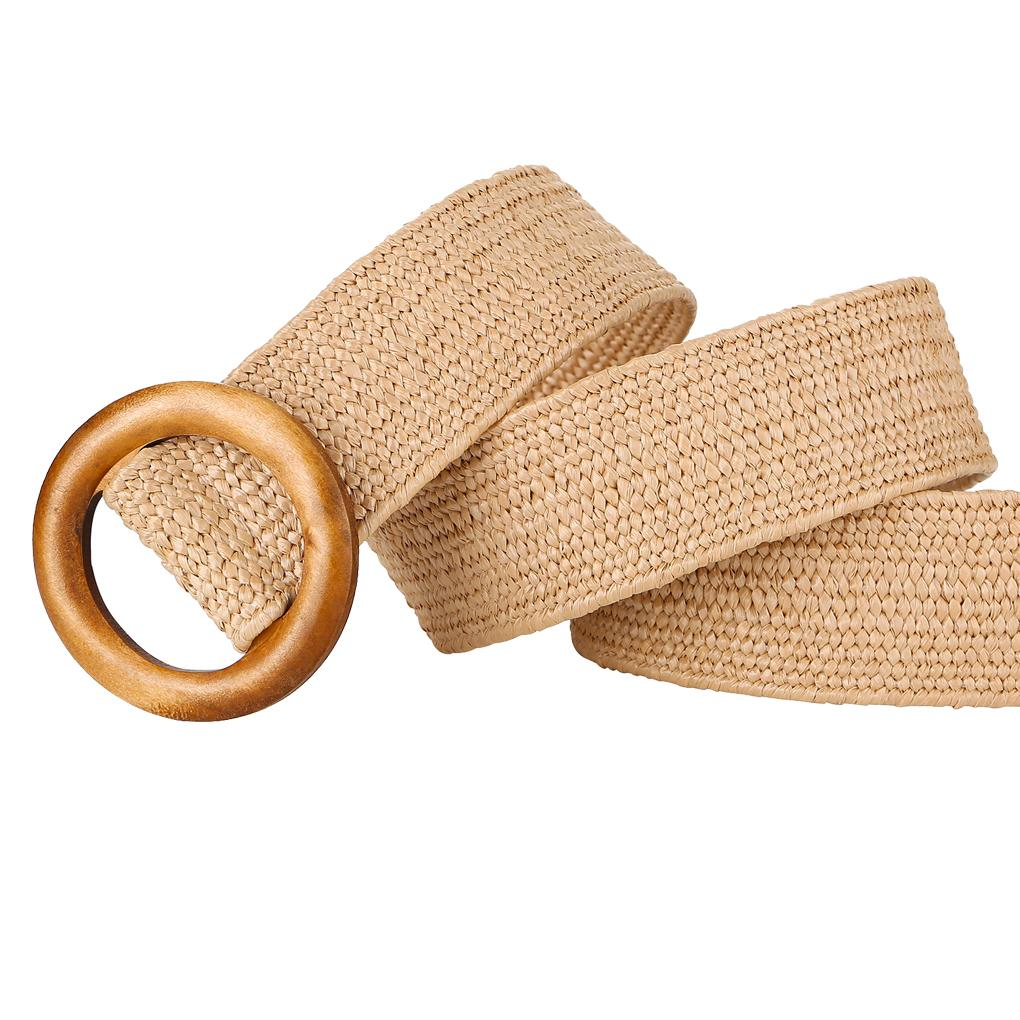 Круглая деревянная пряжка платье пояс женщины плетеный ретро широкий поясной ремень тканые эластичные PP соломы ремни Boho плетеный пояс
