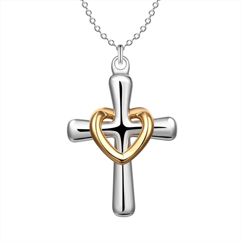 JG1 925 Silver Gold Heart Circle Crosses Necklace Charms Ladies Necklaces Best Selling Fit Thin Chain Necklace
