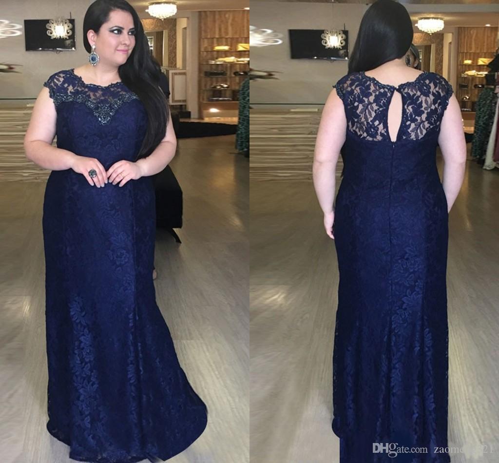 Armada cordón de la manera más el tamaño ocasión especial vestido de noche 2020 Jewel Cap cuello escarpado de diamantes de imitación de manga corta vestidos formales baratos