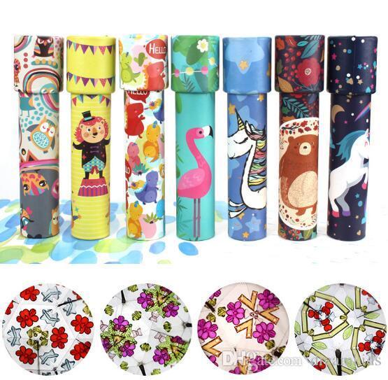 회전 다채로운 만화경 장난감 렌즈 상상력있는 만화 어린이 마법의 고전적인 교육 장난감 아이들을위한