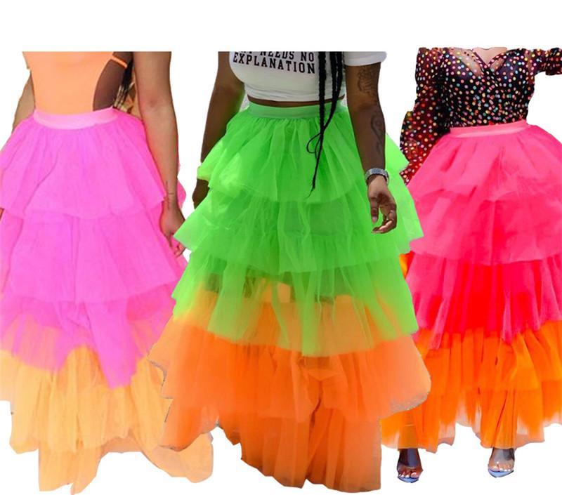 Цвет сетка Лоскутных Длинные юбки для женщин каскадных оборок богемского Maxi Skirt Streetwear Женщина высокой талия партия Юбка НКА-1855