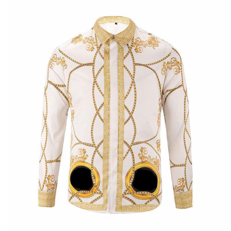 2018 outono e inverno de mangas compridas camisa ocasional dos homens impressa camisa de vestido de cor impressa Magro beleza Dussa seda camisa M-2XL