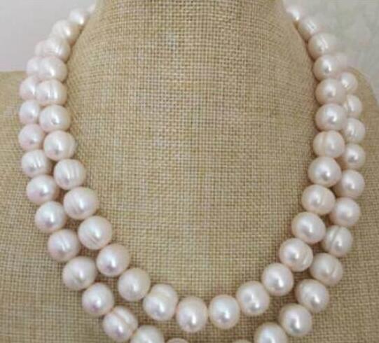 """Enorme 12-13mm real sur mar blanco barroco collar de perlas 36 """"14 k"""