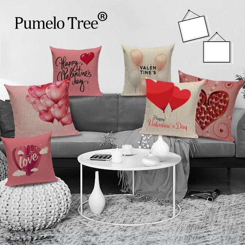 Valentine Heart Yastıklar Dekoratif Yastık Kılıfı Almofadas Koltuk Kırmızı Yastık Kapak Keten Kapaklar Aşk Minder Kapaklar atın