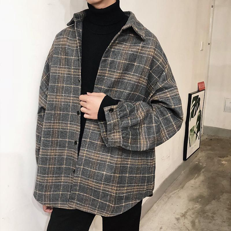 Fashion Men's Plaid Checks Loose Fit Wool Blend Coat Korean Style Boys Jacket Gray Khaki Woolen Coats Outwear A1112