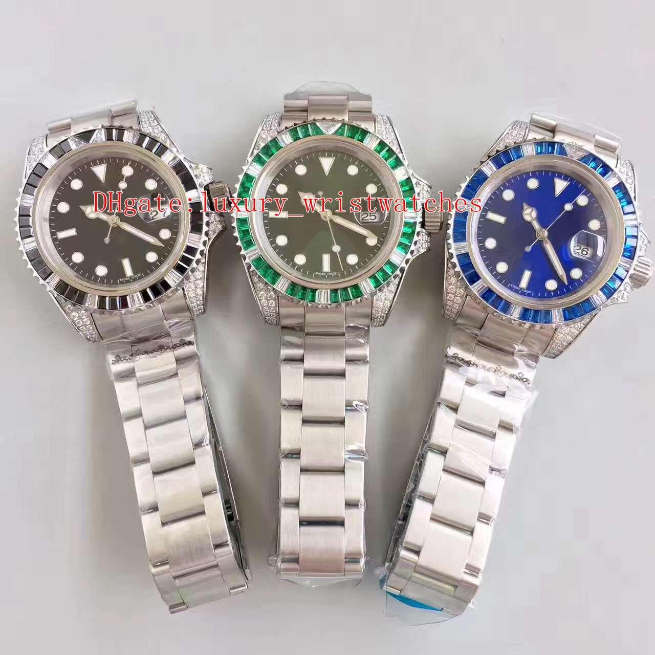 3 Color MEJOR QUALIMIENTO N FACTORY V7 40mm Diamond Bezel 116618 116610 116619 Steel de acero inoxidable ETA 2836 Movimiento Relojes de relojes para hombre automático