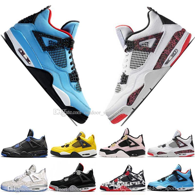 Venta caliente más nuevo Bred 4 4s Lo Las zapatillas Cactus Jack láser Alas de baloncesto del Mens Denim azul pálido Citron deportes de los hombres zapatillas de deporte diseñador 5,5-13
