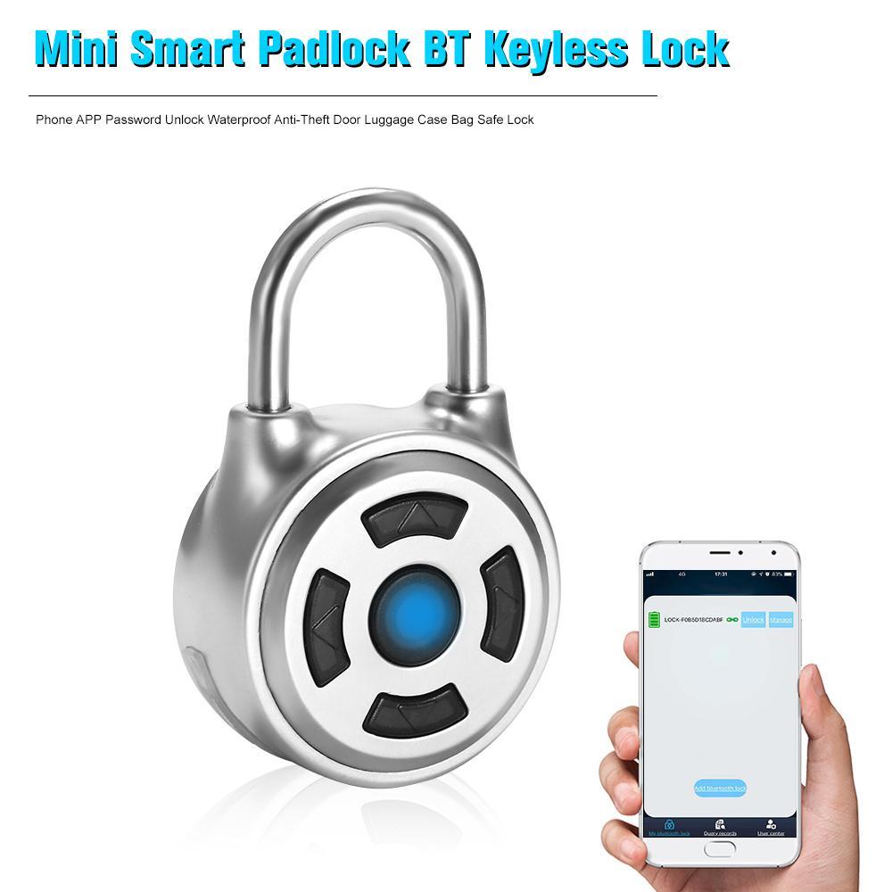 مصغرة الذكية قفل BT بدون مفتاح قفل الهاتف APP كلمة السر إفتح ماء مضاد للسرقة باب الأمتعة حقيبة حقيبة قفل آمن الفضة