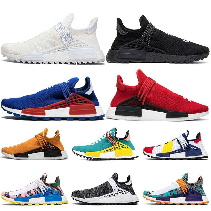 Race humaine originale Hu trail x pharrell williams Nerd chaussures de running noir blanc crème SOLAR PACK chaussures de sport pour femmes baskets de sport 2