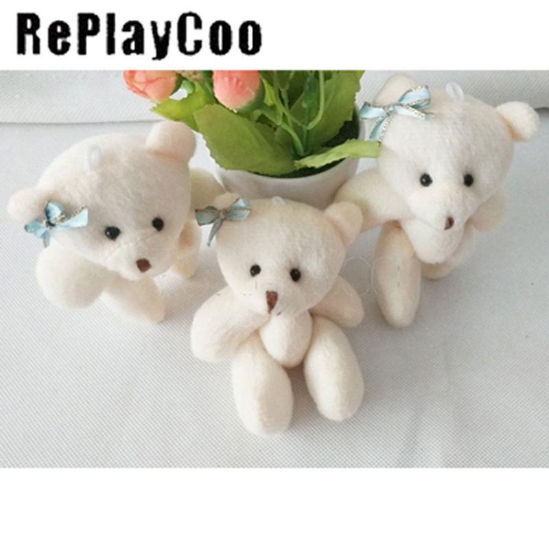Cute left Ear Bow Plush Toys Cute Pendant Dolls Kids 12Cm Bear Children Party Holiday Gift Wedding Home Decoration 50pcs/lot JAX016