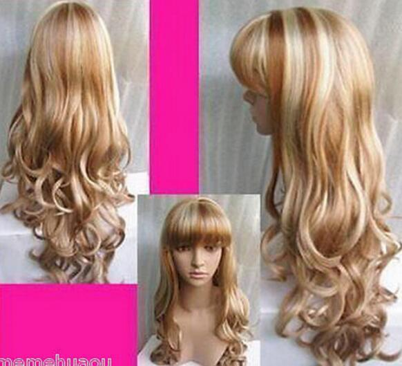 무료 배송 + + + NEW- Stylis h 긴 금발 곱슬 머리 여성용 가발