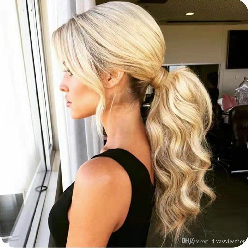 Хвостик человеческих волос 100% Remy Wrap Around Ponytail клип в наращивание волос Длинные волны тела 20 дюймов - # 613 Bleach Blonde