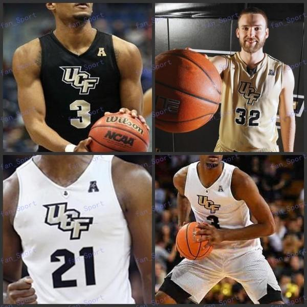 Uomini Custom UCF Knights College Basketball 24 tacko fall 1 B. J. Taylor 2 Terrell Allen 15 Aubrey Dawkins 35 Collin Smith cucita maglie