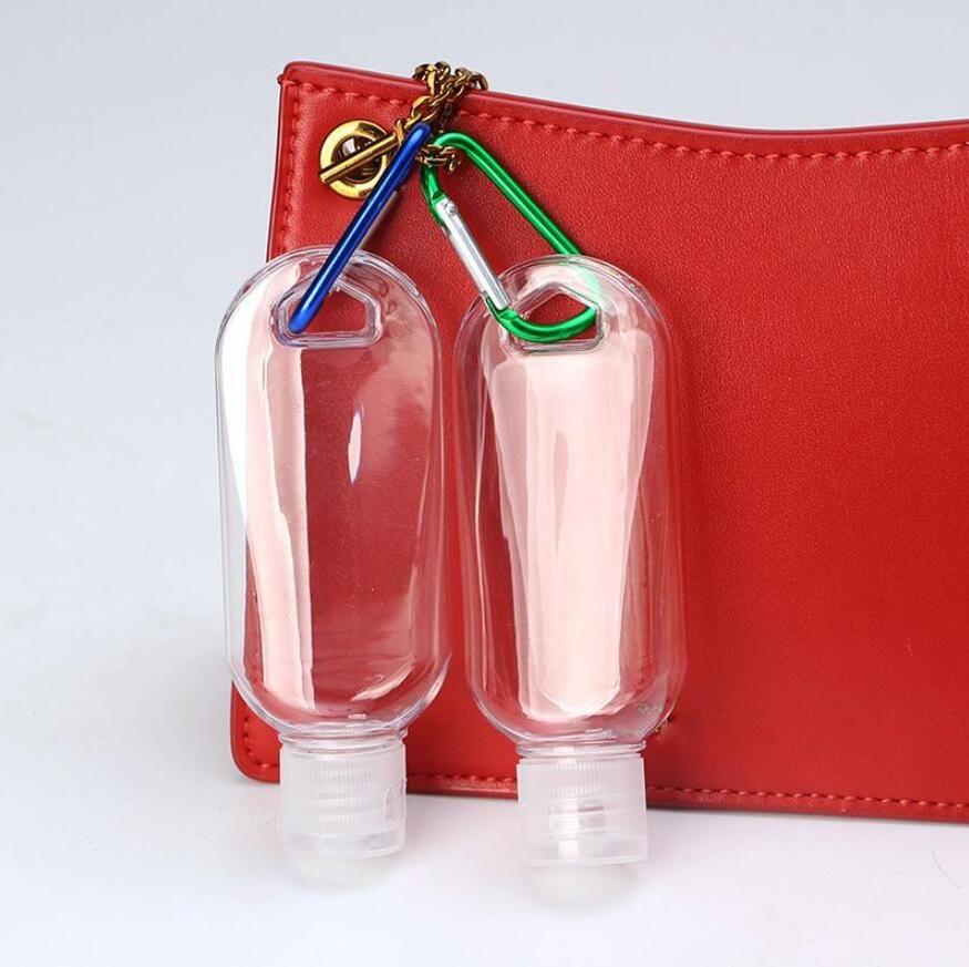 50 ml alcohol vacío botella recargable con gancho de anillo llavero claro transparente portátil mini desinfectante botellas desechables