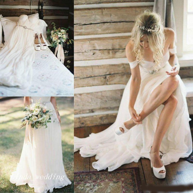 2020 robes de mariée de plage Boho de haute qualité une ligne hors épaule étage longueur longues femmes bohèmes portent robes de soirée nuptiale